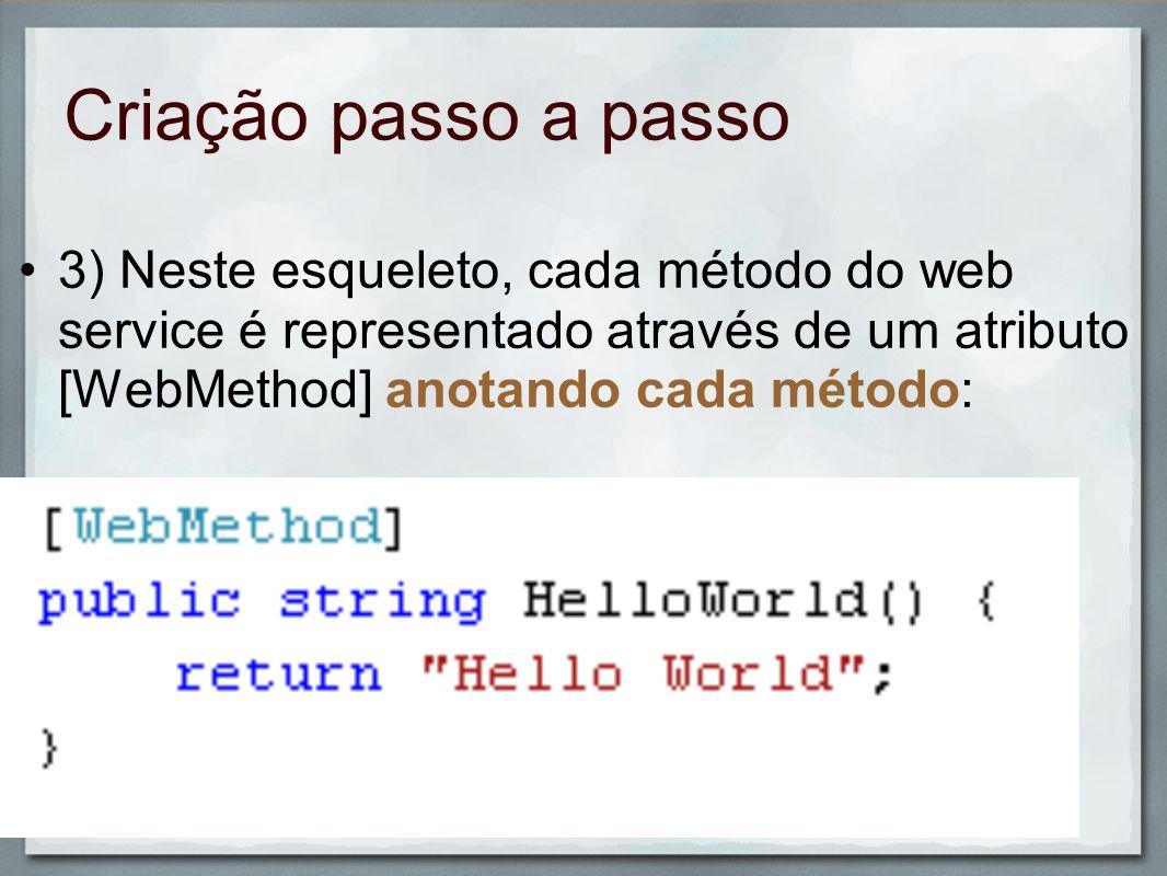 Criação passo a passo3) Neste esqueleto, cada método do web service é representado através de um atributo [WebMethod] anotando cada método: